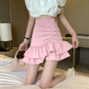 skirt Summer 2021 S,M,L White, black, pink Short skirt commute High waist A-line skirt Solid color Type A 18-24 years old 30% and below other other Lotus leaf edge Korean version