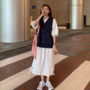 Dress Summer 2021 White dress piece, coffee dress piece, apricot vest piece, blue vest piece Average size longuette singleton  Short sleeve commute Polo collar Loose waist Solid color Socket other puff sleeve Others 18-24 years old Type H Korean version Frenulum 30% and below other other