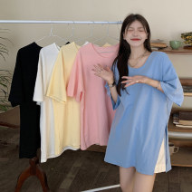 T-shirt White, blue, yellow, black, pink Average size Summer 2021 Short sleeve V-neck easy Medium length routine commute other 30% and below 18-24 years old Korean version youth