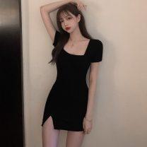 Dress Summer 2020 black Average size Short skirt singleton  Short sleeve commute square neck High waist Socket 18-24 years old Korean version HZL4332 30% and below