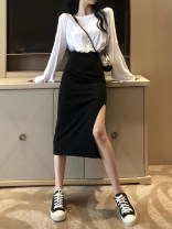 skirt Spring 2020 Average size White top, black skirt longuette commute High waist other Solid color Type A 18-24 years old 31% (inclusive) - 50% (inclusive) other Korean version
