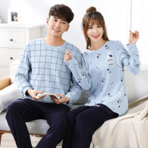 Pajamas / housewear set lovers San Fernando Female-m female-l female-xl female-xxl male-l male-xl male-xxl male-xxxl Cartoon fashion Blue & white stripe set for lovers cotton Short sleeve Simplicity pajamas summer routine Small lapel Solid color Front buckle youth 2 pieces rubber string More than 95%