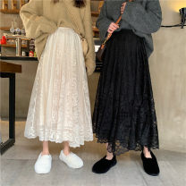 skirt Spring 2021 Average size Black, white Mid length dress commute High waist skirt Solid color Type A 18-24 years old 91% (inclusive) - 95% (inclusive) other other Lace Korean version