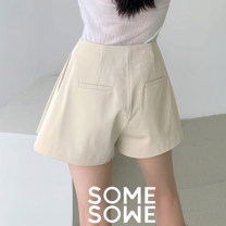 skirt Spring 2020 S,M,L Black, apricot Short skirt Versatile Pleated skirt Solid color Type A 25-29 years old S2003316 other somesowe other Pocket, button
