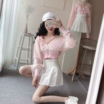 Dress Autumn of 2019 Coat + breast wrap + skirt, single coat S. M, l, average size Short skirt Two piece set Long sleeves commute Hood High waist Solid color Socket Princess Dress other Others 18-24 years old Type A Other / other Korean version Pocket, Sequin, 3D