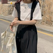 Fashion suit Summer 2021 Average size Solid T, khaki dress, black dress 18-25 years old Other / other 51% (inclusive) - 70% (inclusive) polyester fiber