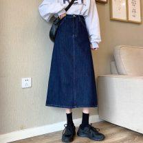 skirt Spring 2021 S,M,L navy blue longuette commute High waist A-line skirt Solid color Type A More than 95% Denim