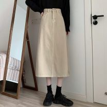 skirt Spring 2021 S,M,L Apricot, coffee Mid length dress commute High waist A-line skirt Solid color Type A 18-24 years old 71% (inclusive) - 80% (inclusive) Denim Other / other cotton pocket Korean version