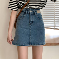 skirt Summer 2021 S,M,L,XL blue Short skirt commute High waist Denim skirt Solid color Type A 18-24 years old More than 95% other cotton Button, pocket, zipper, tassel, lace up Korean version
