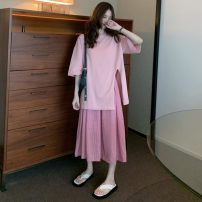 Fashion suit Spring 2021 S. M, average size Pink T-shirt, plaid skirt 18-25 years old 71% (inclusive) - 80% (inclusive) polyester fiber