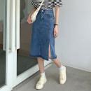 skirt Summer 2021 S,M,L,XL blue Mid length dress commute High waist Denim skirt Solid color Type A 18-24 years old 71% (inclusive) - 80% (inclusive) Denim Button Korean version