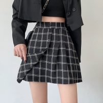 skirt Spring 2021 S,M,L Apricot, black Short skirt commute High waist A-line skirt lattice Type A 18-24 years old 31% (inclusive) - 50% (inclusive) other Other / other cotton Button Korean version