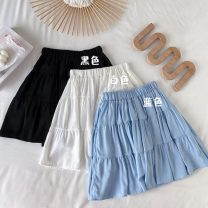 skirt Summer 2021 Average size White, blue, black Short skirt commute High waist Pleated skirt Solid color Type A 18-24 years old 71% (inclusive) - 80% (inclusive) polyester fiber Korean version