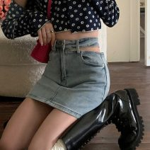 skirt Summer 2021 S,M,L Wash light blue Short skirt Versatile High waist skirt Solid color Type A 18-24 years old 1 71% (inclusive) - 80% (inclusive) Hollowing out