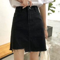 skirt Summer of 2018 S,M,L,XL Black, white Short skirt commute High waist A-line skirt Solid color Type A 18-24 years old 9185# 51% (inclusive) - 70% (inclusive) Denim cotton Pockets, zippers, buttons Korean version
