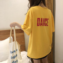 T-shirt White yellow blue black Average code Short sleeve Summer of 2018 Round neck Long section Loose conventional Commuting cotton 18-24 years old 51% (inclusive) -70% (inclusive) youth letter Korean version eight thousand one hundred and nineteen printing