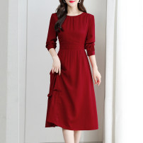 Dress Spring 2021 gules M,L,XL,2XL,3XL longuette singleton  Long sleeves commute Crew neck High waist Solid color zipper A-line skirt routine 30-34 years old Type A Korean version