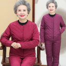 Middle aged and old women's wear Winter of 2019 Red (top + pants), Rose (top + pants) XL (90-105 kg recommended), XXL (105-115 kg recommended), 3XL (115-130 kg recommended), 4XL (130-145 kg recommended), 5XL (145-155 kg recommended) leisure time suit Straight cylinder Two piece set Solid color thick