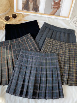 skirt Winter 2020 S,M,L Black, gray, blue white, yellow gray, coffee yellow Short skirt commute High waist Pleated skirt lattice Type A 18-24 years old 51% (inclusive) - 70% (inclusive) fold Korean version