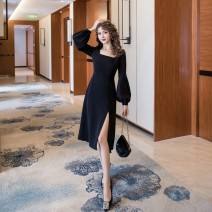 Dress Autumn 2020 black S,M,L,XL Mid length dress singleton  Long sleeves commute square neck High waist Solid color Socket Big swing puff sleeve Others 18-24 years old Type A Simplicity Asymmetry, mesh, zipper MMH056 31% (inclusive) - 50% (inclusive) other other