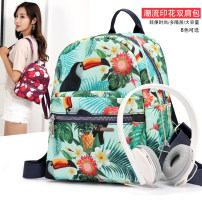 Backpack Nylon  Soyt / soyat Tropical jungle red flower diamond color block small fish clover pattern ethnic pattern purple black brand new zipper soft