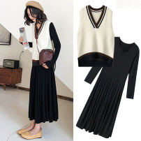 Dress Other / other Pregnant women's skirt, pregnant women's skirt + waistcoat, breast-feeding skirt, breast-feeding skirt + waistcoat, [collect baby + collect small gift from store] M,L,XL,XXL Korean version Long sleeves Medium length spring Crew neck Solid color
