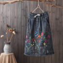skirt Summer of 2018 Average size Light blue, blue Mid length dress commute Natural waist A-line skirt Broken flowers Type A 30-34 years old 81% (inclusive) - 90% (inclusive) Other / other cotton Retro