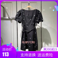 Dress Summer 2021 black S/155,M/160,L/165,XL/170 longuette singleton  Long sleeves Sweet square neck High waist Solid color Single breasted A-line skirt routine 25-29 years old Type A Bird patter Button, lace up polyester fiber