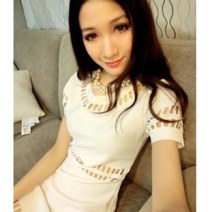 Dress Spring 2021 Shaohua (white), Shaohua (black), 17 (T-shirt) One size fits all Middle-skirt singleton  Short sleeve commute Crew neck Solid color Socket A-line skirt 18-24 years old Type H Korean version Hole, hook flower, hollow out