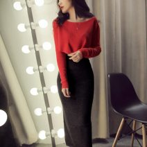 Dress Autumn 2020 Rose red + Dark grey skirt , tomato  + Dark grey skirt , red + Black skirt S,M,L longuette Two piece set Long sleeves commute One word collar High waist Solid color Socket One pace skirt routine Korean version