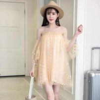 Dress Summer 2021 Apricot, pink Average size Short skirt elbow sleeve One word collar