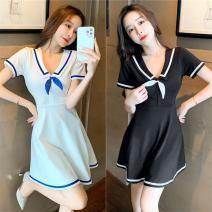 Dress Spring 2021 White, black S,M,L,XL Short skirt Short sleeve commute High waist Socket Type A