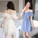 Dress Summer 2020 Apricot, grey blue S,M,L Short skirt V-neck camisole