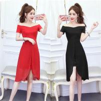 Dress Summer 2021 Red, black S,M,L Middle-skirt singleton  Short sleeve commute One word collar middle-waisted Solid color zipper Irregular skirt Splicing