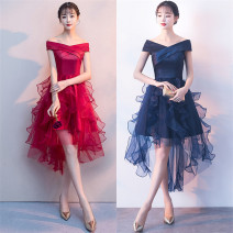 Dress / evening wear wedding S,M,L Dark blue, white, red, black grace High waist Summer 2020 Fluffy skirt One shoulder nylon