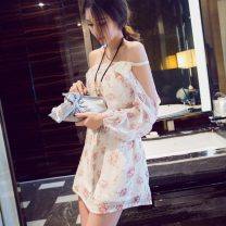 Dress Summer 2021 White flowers, pink orchids Average size Short skirt One word collar Chiffon