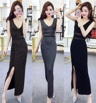 Dress Summer 2021 Gold, silver, black S,M,L longuette singleton  Sleeveless commute zipper Type A Korean version