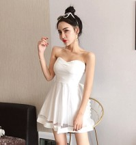 Dress Summer of 2019 White, red, blue, black S,M,L Short skirt singleton  V-neck middle-waisted Solid color Socket A-line skirt Breast wrapping Open back, stitching, mesh