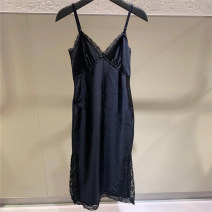Dress Spring 2021 black S,M,L Middle-skirt Sleeveless street other Solid color other camisole 25-29 years old More than 95% brocade cotton Europe and America