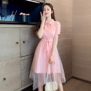 Dress Spring 2021 Pink S. M, l, XL, 2XL, 500 pieces wholesale price Mid length dress singleton  Short sleeve Polo collar lattice Single breasted Irregular skirt routine Others 25-29 years old 31% (inclusive) - 50% (inclusive)