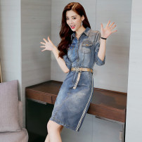 Dress Spring 2021 Denim blue M. L, XL, 2XL, 3XL, 500 pieces wholesale price Middle-skirt singleton  three quarter sleeve commute stand collar middle-waisted Solid color Single breasted One pace skirt routine Hanging neck style Type H Other / other Retro 51% (inclusive) - 70% (inclusive) Denim cotton