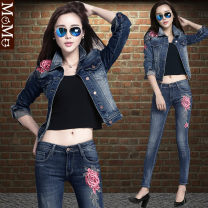 short coat Autumn 2020 XS,S,M,L,XL 239 yuan for jacket, 209 yuan for jeans, 418 yuan for jacket + pants suit Long sleeves have cash less than that is registered in the accounts routine singleton  Self cultivation street shirt sleeve stand collar Single breasted Plants and flowers I am fashion cotton