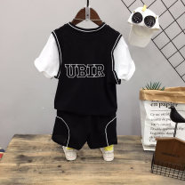 suit Other / other black Size 120 (height of about 120cm), Size 130 (height of about 130cm), size 140 (height of about 140cm), size 150 (height of about 150cm), size 160 (height of about 160cm) male summer leisure time Short sleeve + pants 2 pieces Thin money No model Socket nothing other other other