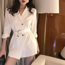 Dress Autumn 2020 White, black Average size Short skirt Long sleeves double-breasted 18-24 years old 51% (inclusive) - 70% (inclusive) other