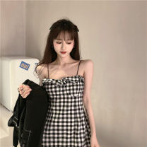 Dress Winter 2016 Black Plaid suspender skirt, black cardigan S. M, l, XL, one size fits all Short skirt singleton  Sleeveless commute High waist lattice camisole 18-24 years old Type X Retro