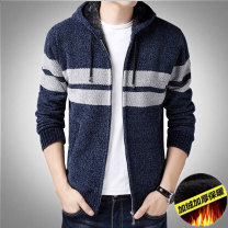 T-shirt / sweater Others Fashion City M,L,XL,2XL,3XL thickening Cardigan Cap Long sleeves winter easy 2020 Polyester 100% go to work Simplicity in Europe and America middle age routine stripe washing Regular wool (10 stitches, 12 stitches) wool blend  printing 30% and below