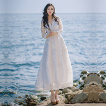 Dress Summer 2021 white S,M,L longuette singleton  three quarter sleeve Sweet V-neck High waist Solid color zipper Big swing routine Others Type A Lace Bohemia