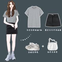 Fashion suit Summer 2021 S,M,L,XL,2XL black , white , Light yellow , yellow , wathet , sky blue , violet , grey , Fruit green , Apricot white , Flower grey , Turquoise , Green bean paste , Dark red , Grey black skirt 18-25 years old Other / other polyester fiber