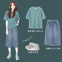 Fashion suit Spring 2021 S,M,L,XL,XXL Greyish green T-shirt, light blue skirt Under 17 Other / other 30% and below