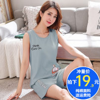 Pajamas / housewear set female Other / other M,L,XL,XXL,XXXL cotton Sleeveless Cartoon pajamas summer Thin money Crew neck letter shorts Socket youth 2 pieces rubber string More than 95% Knitted cotton fabric printing 200g and below